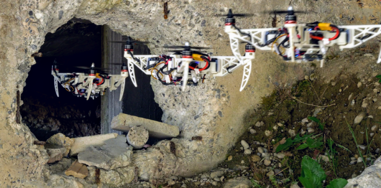 A drone entering through a whole in a stone wall