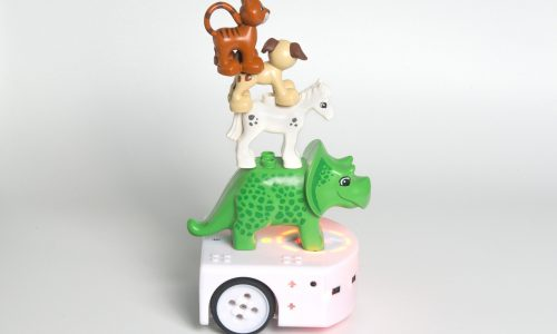 The Thymio robot with plastic toy animals on top